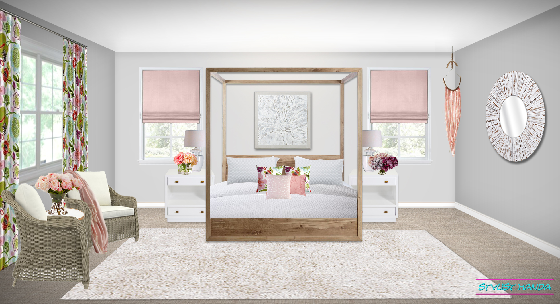 Flower Explosion in this spring update bedroom design featuring a poster bed, crisp white bedding, and floral accents.