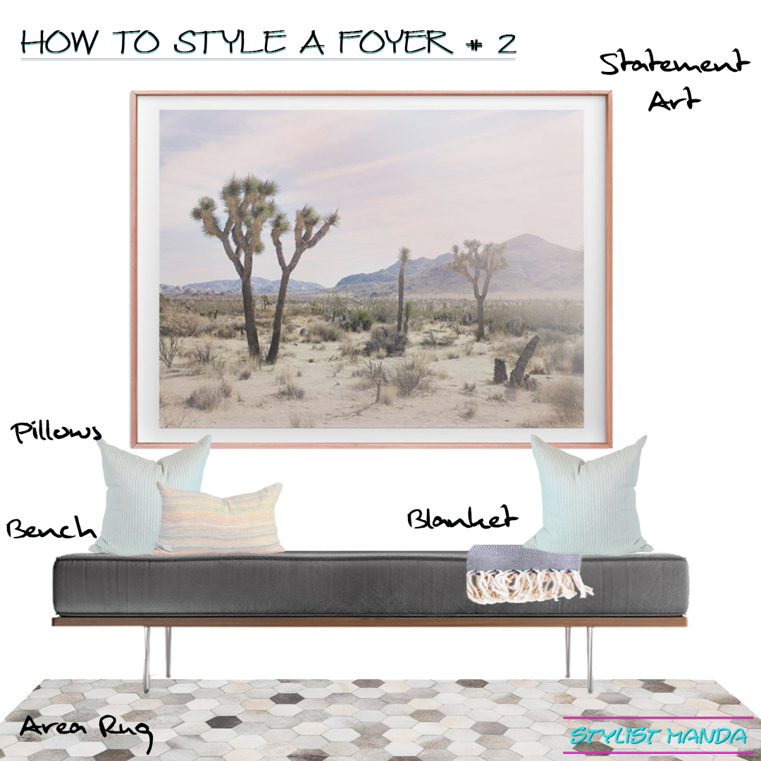 How to style a foyer option 2 – statement art, bench, area rug, and pillows a shoppable look This is the second option out of 3 ways to style a foyer. Check out the other ways to style a foyer with a console table OR coat rack. Dream Home Interior Design Tips, How to add style to your home, how to fix a house feeling flat.