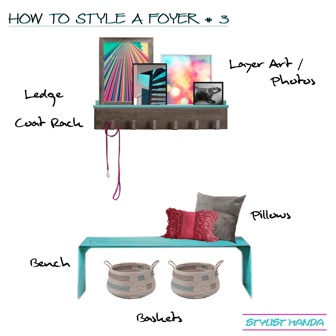 How to style a foyer 3 – coat rack, art ledge, and bench a shoppable look This is the third option out of 3 ways to style a foyer. Check out the other ways to style a foyer with a console table OR Statement Art. Dream Home Interior Design Tips, How to add style to your home, how to fix a house feeling flat. How to fake a foyer, how to pop in color, how to layer art on a ledge