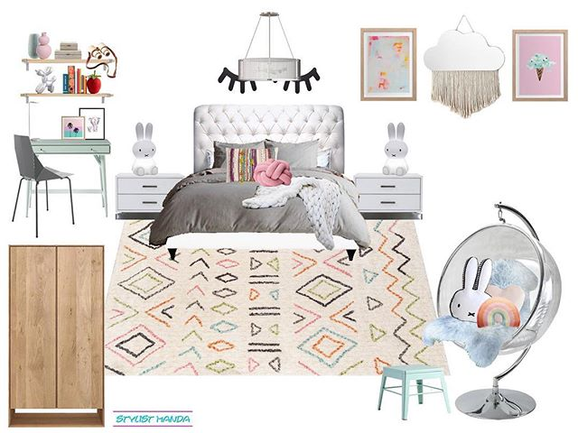 Ok guys, let's see if I can remember how to do this 🙈 Check out these #edesign concepts I completed back in  November for a contemporary kid's guest bedroom. This bedroom is right off of a playroom I also designed and was going to be used for nap time, mom to work while the girls were playing, and a guest bedroom for nieces and cousins! The client had an existing bed and nightstands and really wanted a miffy light. SO I presented 2 ideas for a contemporary / Scandinavian look for two very lucky girls. ... I wish I had a playroom and a dedicated room for sleepovers when I was their age. My bestie would sleep over almost every Saturday night - we would have LOVED this ... tap for some sources #styleanddesignallonline
