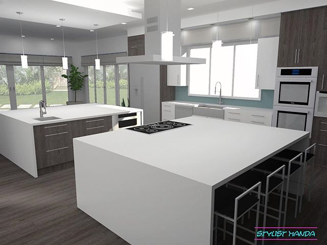 "Cover photo for a kitchen I designed and rendered for one awesome double island kitchen!! This client built a custom house and didn't love what their kitchen design company suggested, so they decided to launch a design project with me and added on my rendering services to see this baby come to life. Follow me as I trickle out the rest of the views of this HUGE 670 SQUARE FOOT Kitchen & Sunroom ... The Kitchen Features a contemporary dropped ceiling pads over two islands with pendant lighting, fridge and freezer columns, double wall ovens, built-in coffee maker, prep sink, micro drawer, 36"" wide cook-top, counter-height stools for 8. OH, AND HUGE waterfalling counters! Then heading to the sunroom, 12"" deep lower cabinets with display shelves above, and finally a wet bar with a beverage cooler. #edesign #rendering . . Launch a design project or reserve my time for a rendering project for your next home today by clicking to the services page on my site [Link in bio] ... and be sure to check out my Memorial Day Sale THIS WEEKEND where I am offering a REDUCED RATE for the first time EVER ~ 50% off all packages!"