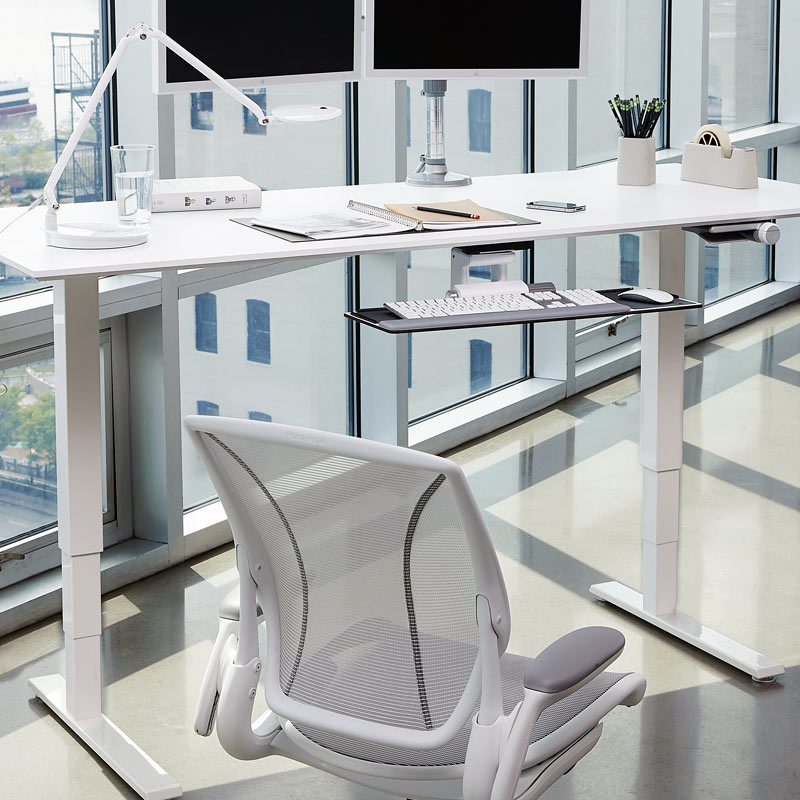 sit to stand float desk by Humanscale