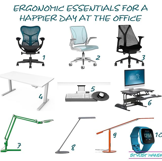 Hey guys!! Takin a break from my pretty edesigns to bring you a post on #ergonomics because we should all have the best setup to encourage proper posture and health. Sitting is the new smoking you know 🙊 Who suffers from back pain / carpal tunnel / tech neck?? Can I get a show of hands in the comments below because I can definitely relate 🙋🏻‍♀️ A quick Google search can tell you, Ergonomics is defined as the study of people's efficiency in their working environment and really started to become a buzz word in the early 90's when the Aeron Chair first hit the market. The idea was to keep butts in seats for longer periods of time, but this idea has since evolved. Spine health, specifically correct posture are super important in our daily lives and happiness at work so I've rounded up my favorite ergonomic chairs, task lights, and essential ergonomic products for a happier day at the office. Check out my new shoppable blog post on my site where I dive into terms and things to look for when selecting your next office chair! Whether you have a home office or work for the man at a large office, this post is for you - link in Bio / all products are linked there #edesign