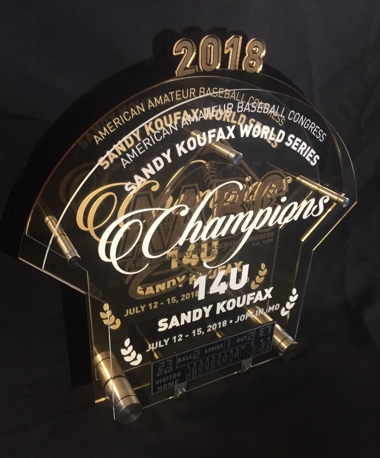AABC - World Series Champions Award.  Contact us for pricing information.