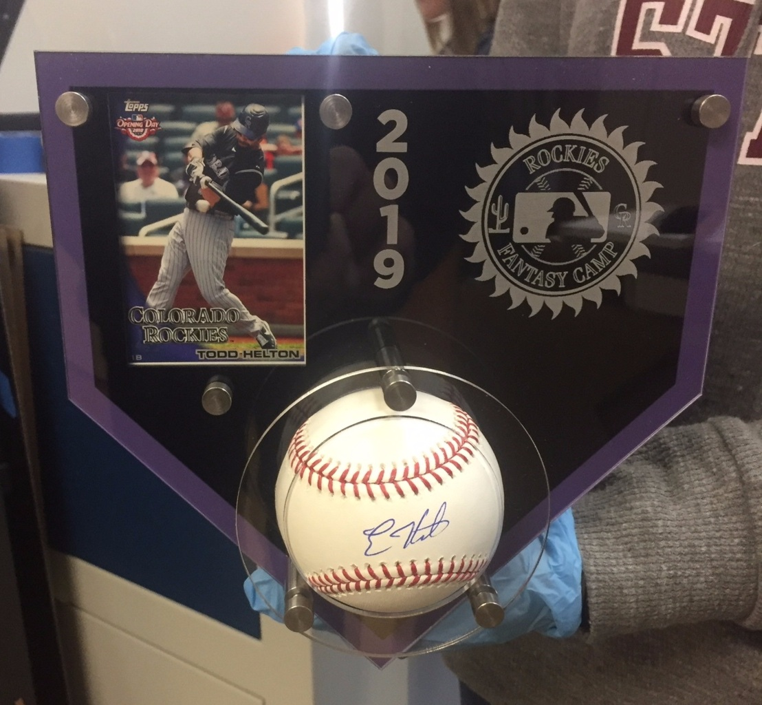 Baseball Card/Homeplate Frame - 5-layer acrylic, holds baseball or hockey puck, in team colors and logos w/custom etching.  Contact us for pricing information.