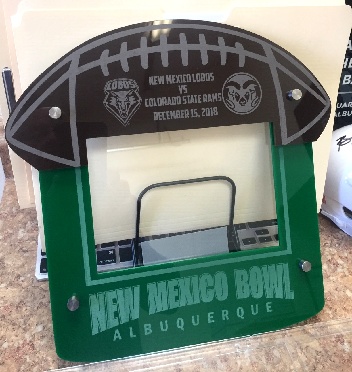 5x7 Landscape Football frame - 4-layer acrylic, event/team colors, upper half custom fabricated and etched to resemble football  Contact us for pricing information.