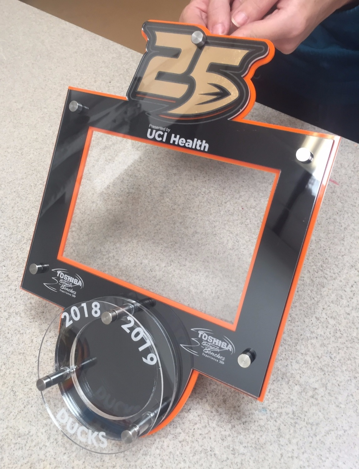25th Anniversary 5x7 Landscape Frame holds Hockey Puck - designed and fabricated for Anaheim Ducks Puck Drop Celebration