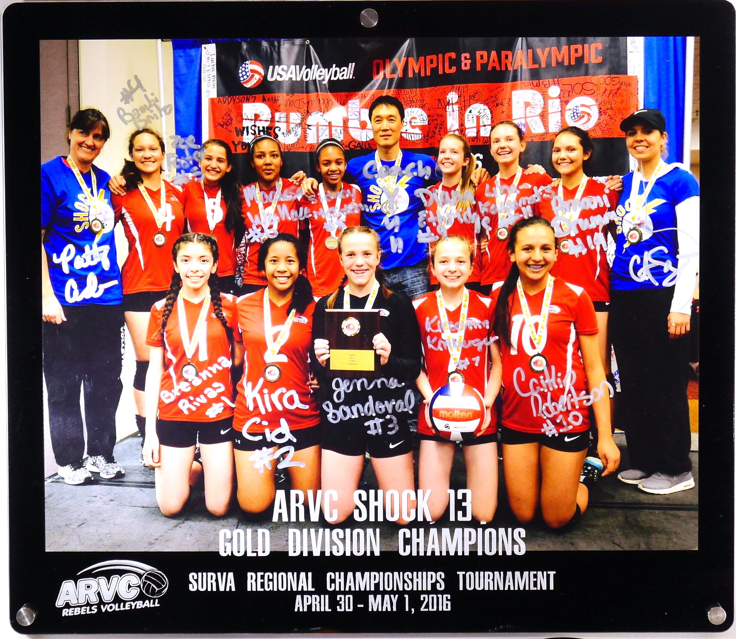 8x10 Landscape Frame - 2-layer acrylic, Tournament Achievement Award/Frame, custom etch includes Team, Club, & Event names and date,  Logo of Club putting on event.  Frame has been signed by team and coaches in Sharpie.  Contact us for pricing information.
