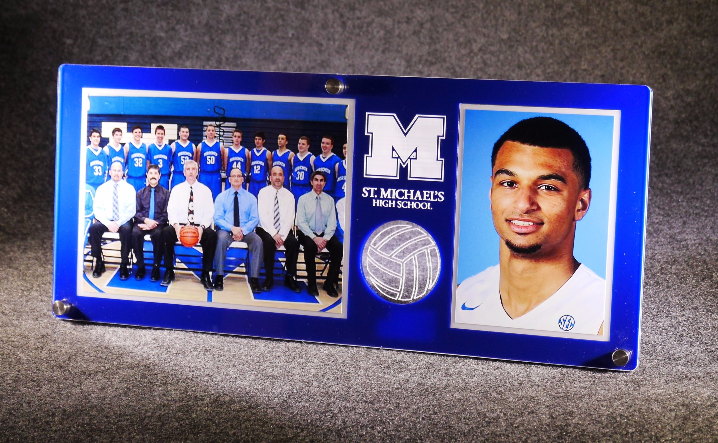 5x7 Team/3.5x5 Individual Dual Photo frame - team colors, custom etch/color enhancing, cut-through of ball/object  Contact us for pricing information.