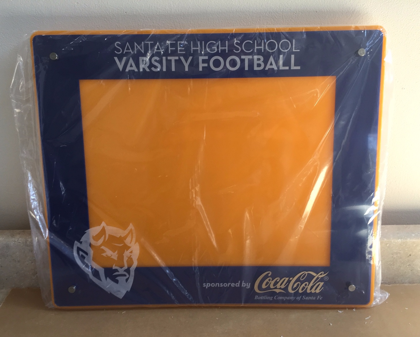 11x14 Sports Team landscape frame - 4-layer arylic, color enhanced school logo, custom etching with sponsor and school logos, team and school text identification.  Contact us for pricing information.
