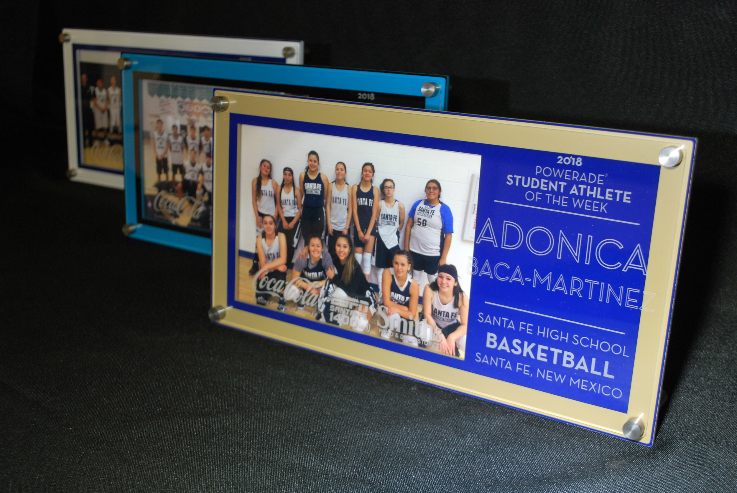 5x7 landscape photo frame - Powerade Student/Athlete of the Week Frame/Award, custom etch features accomplishment, name, sport, and school of athlete, year and title of award.  Contact us for pricing information.