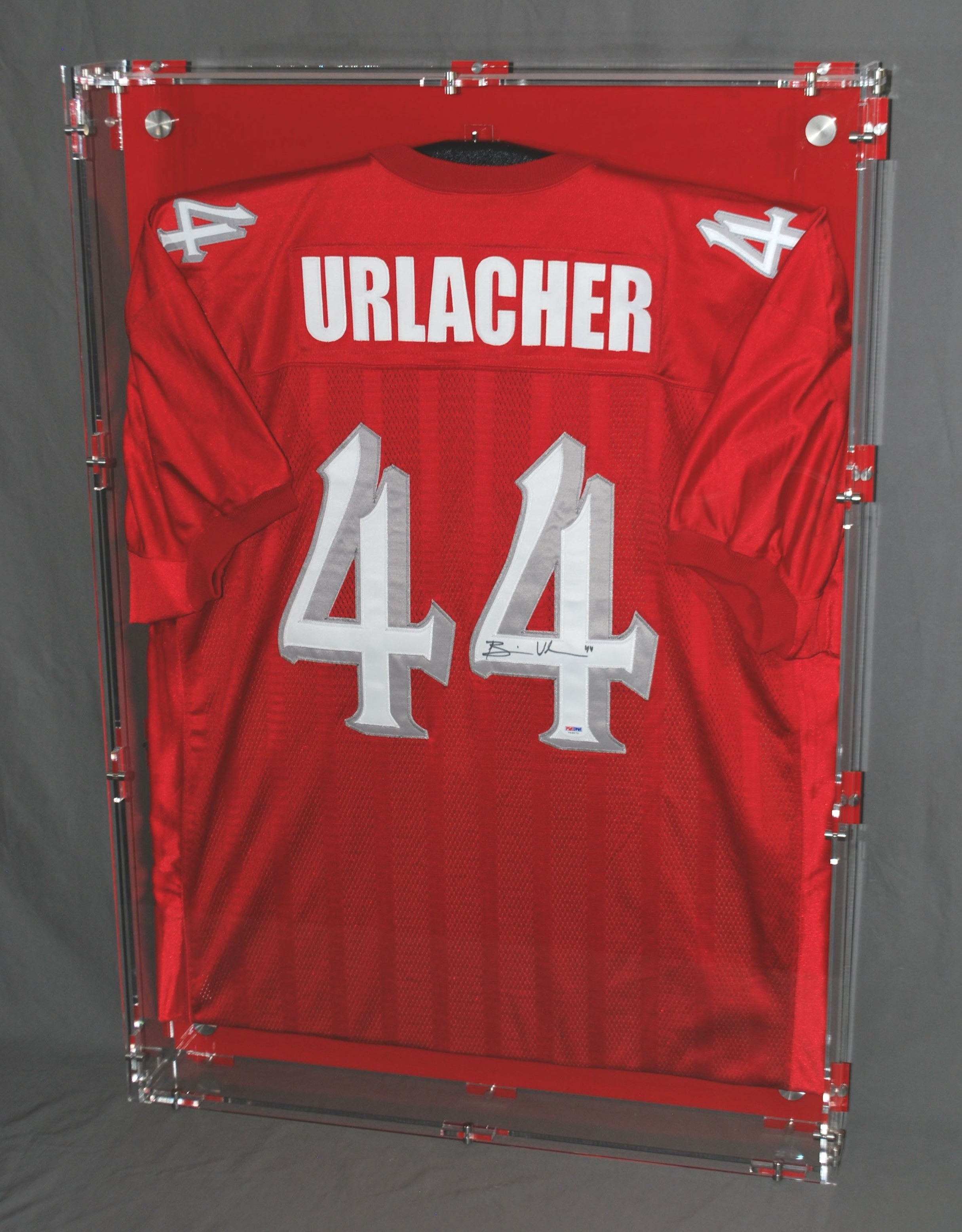 """Jersey Case - 28""""x 40""""x 3.5"""",  clear case mounts from SS corner hardware,  can be custom-etched per customer desires.  Contact us for pricing information."""