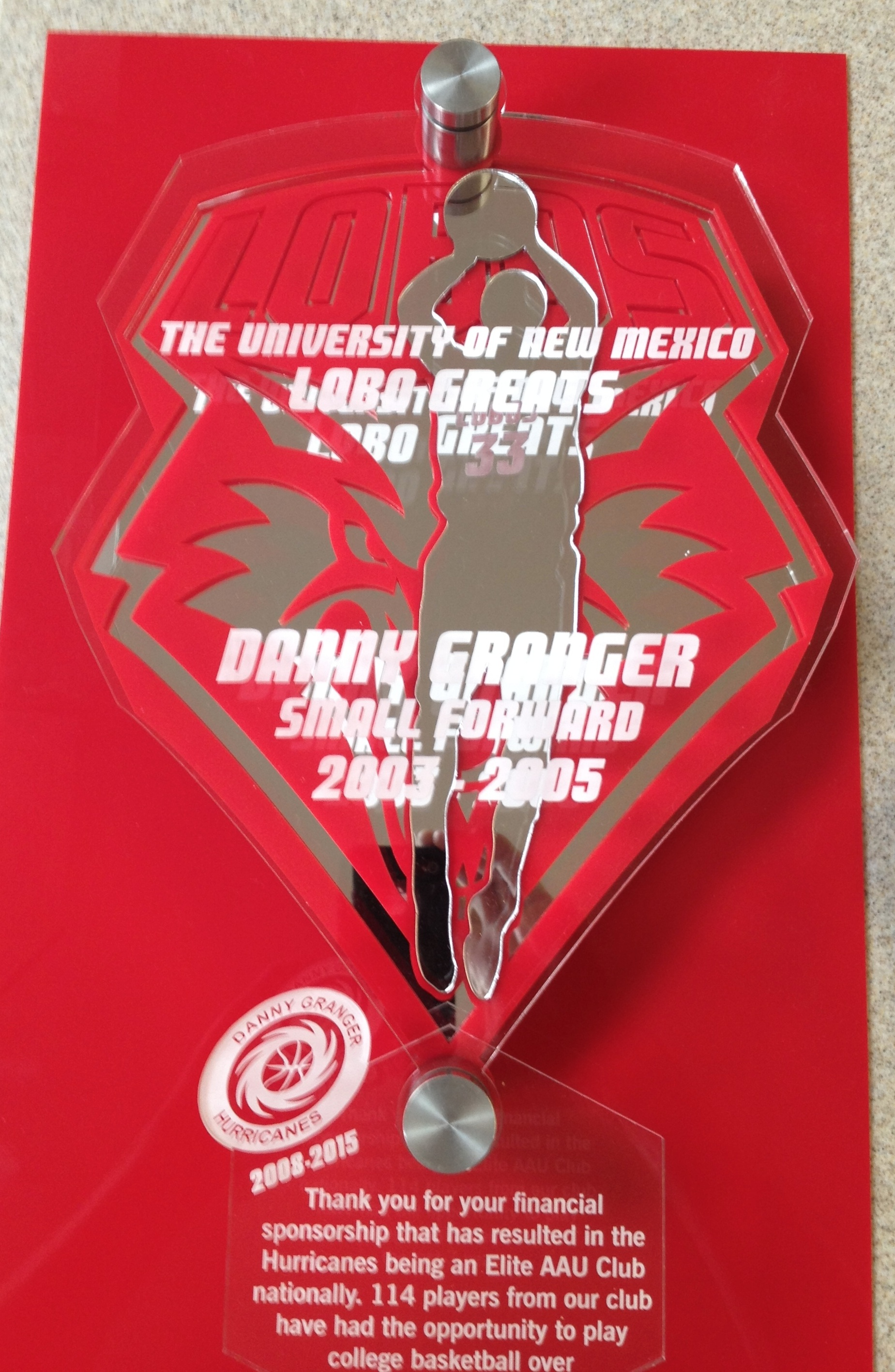 Appreciation Award - given to Danny Granger by the Albuquerque Hurricanes in appreciation for his sponsorship of the AAU Basketball Team  Contact us for pricing information.