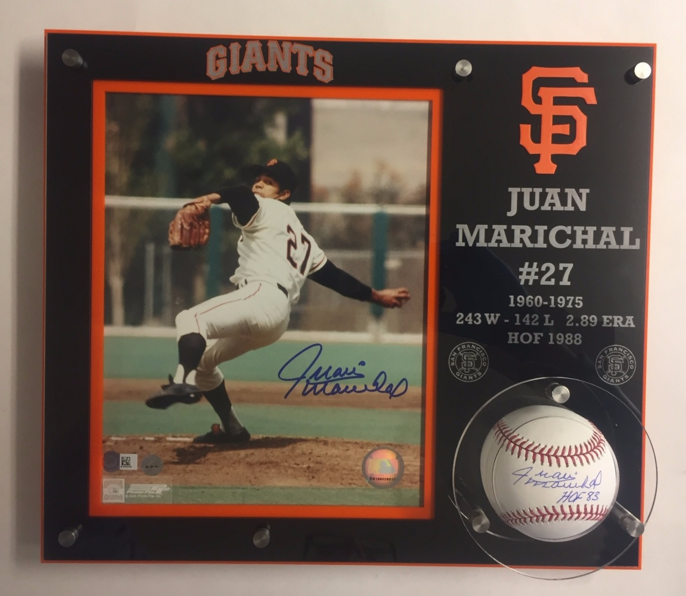 Collector's frame holds 8x10 portrait and baseball - 5-layer acrylic, SS hardware, in team colors, with logos and individuals relevant statistics, wall-mount  Contact us for design and pricing information for your collector's photos and balls
