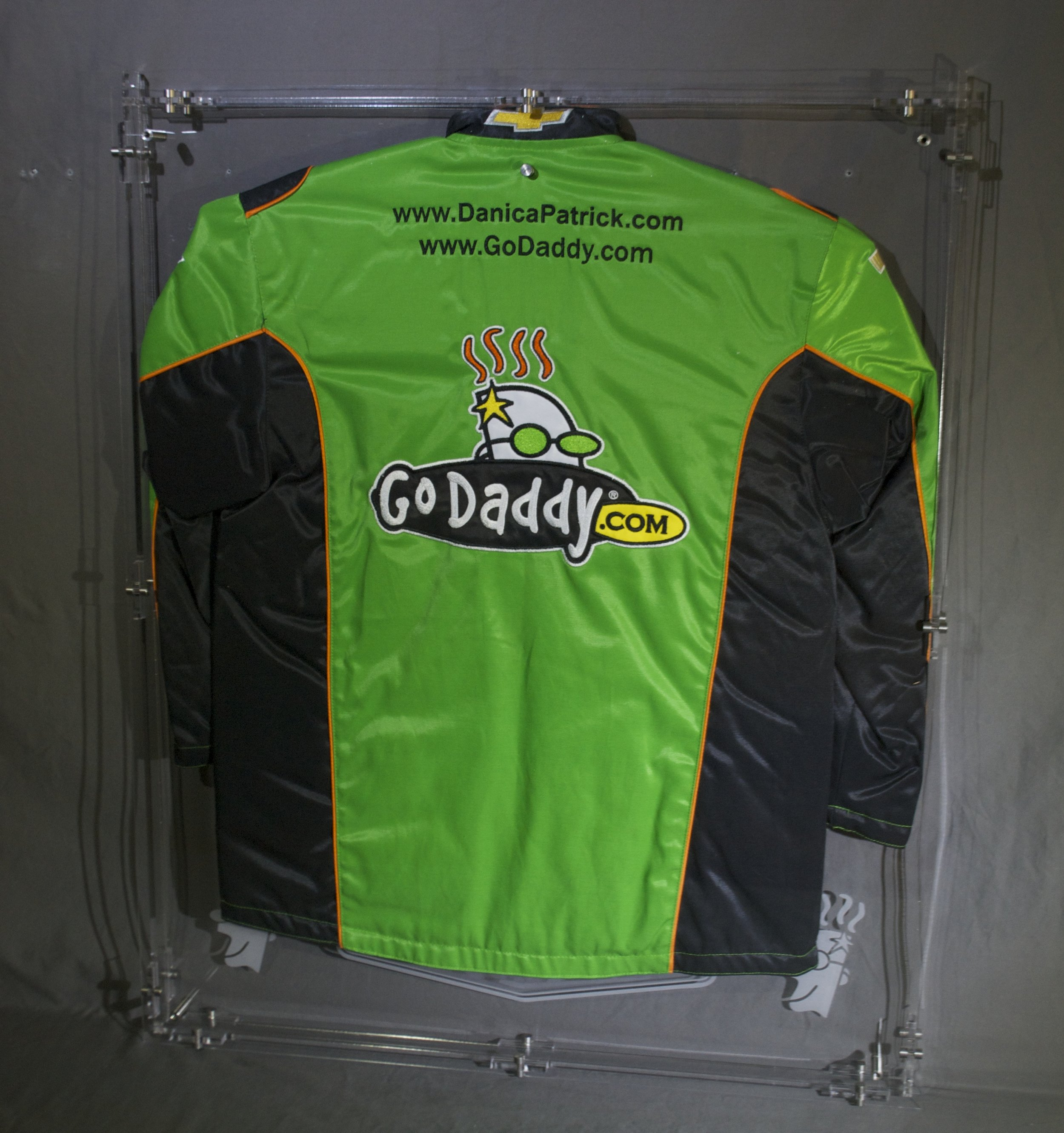 """2-sided jersey case - 28""""x 40""""x 2.5"""", custom-etched per customer, clear case mounts from either side or hangs mid-room from tabs built into top of case.  Contact us for pricing information."""
