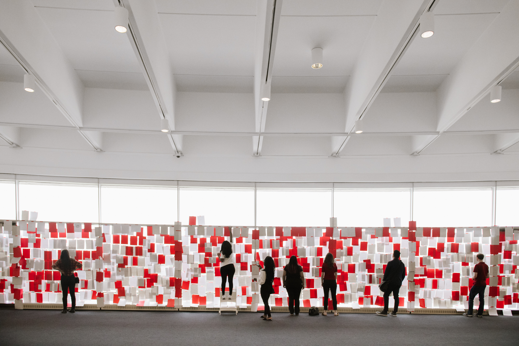 Installation view at the Hirshhorn Museum, Washington, DC in the Lerner Room which has windows and sweeping views overlooking the National Archives Building on the National Mall.