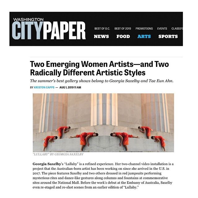 Thank you @WashingtonCityPaper and Kriston Capps @armsmasher for this stellar review of #LullabyDC at the Australian Embassy!!!! Proud to be considered alongside artist Tae Eun Ahn as the two 'best summer gallery shows' in Washington DC! Link in bio. . https://www.washingtoncitypaper.com/arts/museums-galleries/article/21080646/two-emerging-women-artistsand-two-radically-different-artistic-styles
