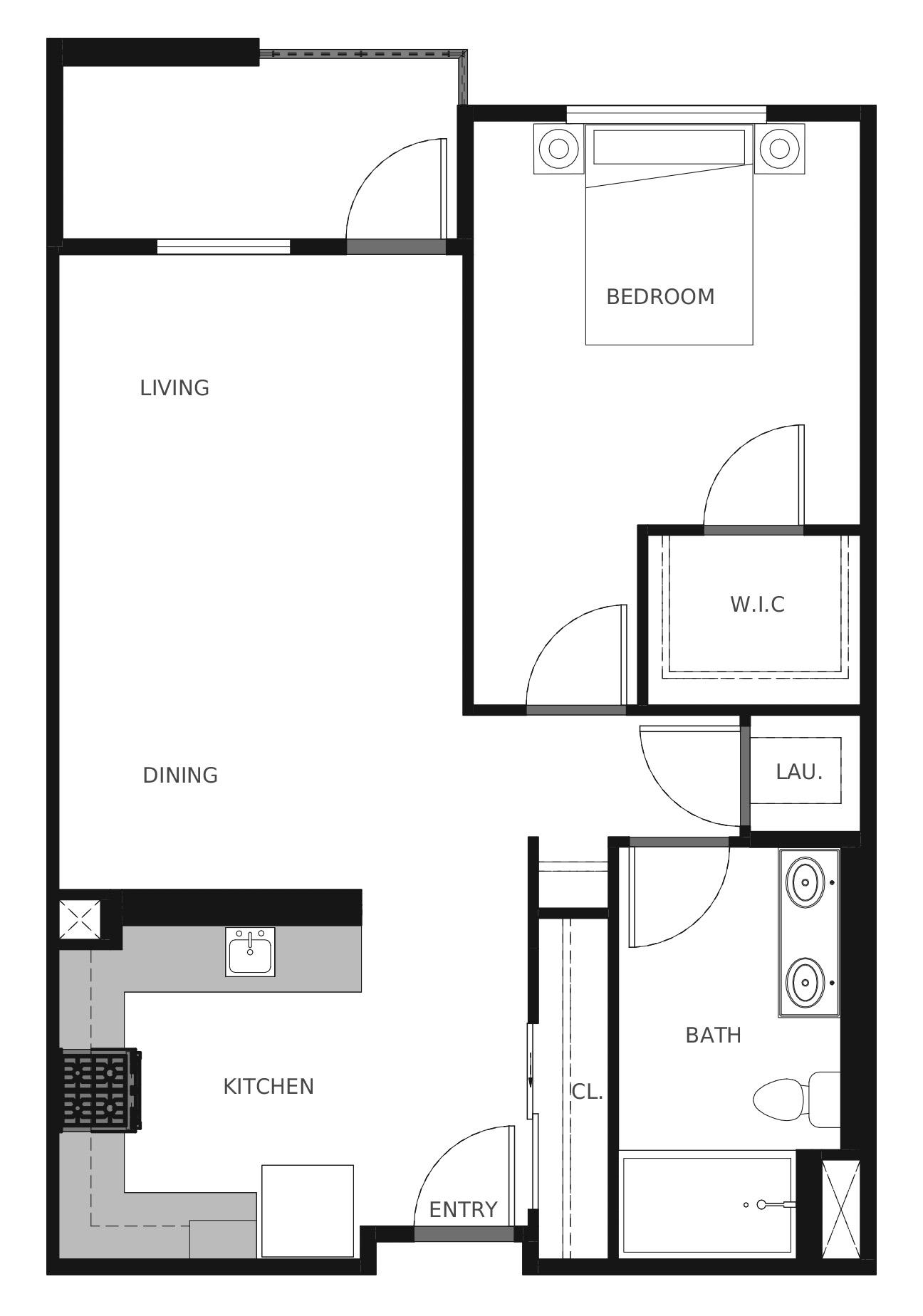 Plan A2 - 735 sq. ft.