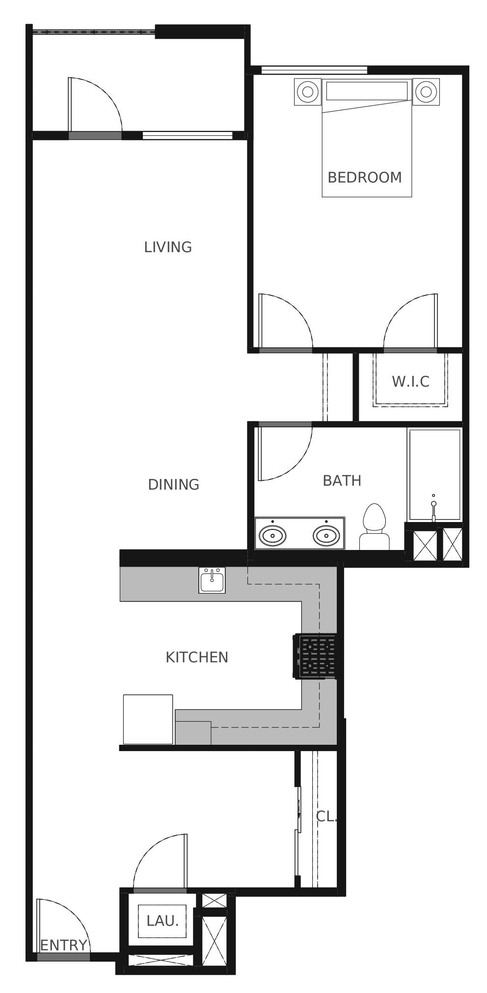 Plan A5 - 934 sq. ft.