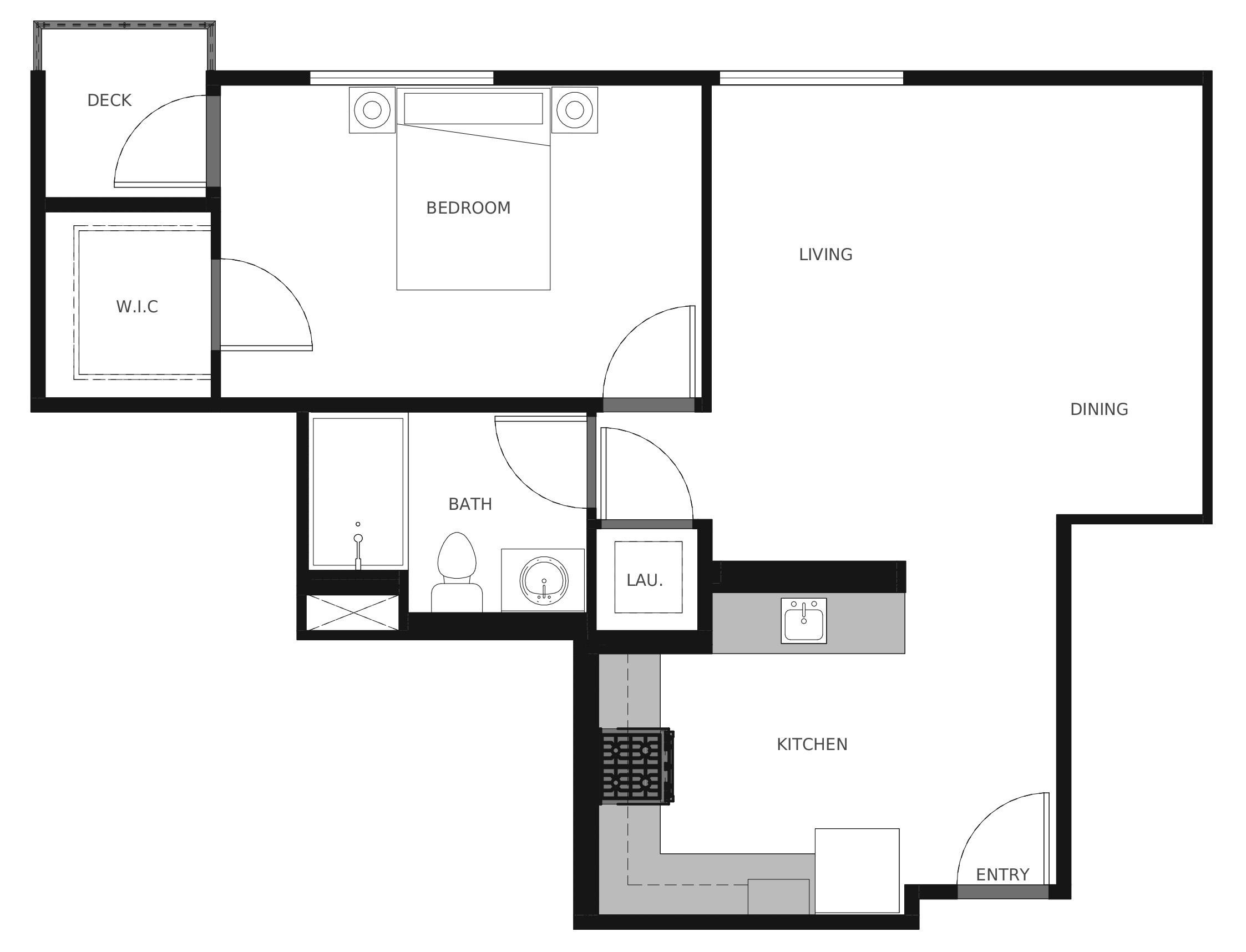 Plan A6 - 676 sq. ft.