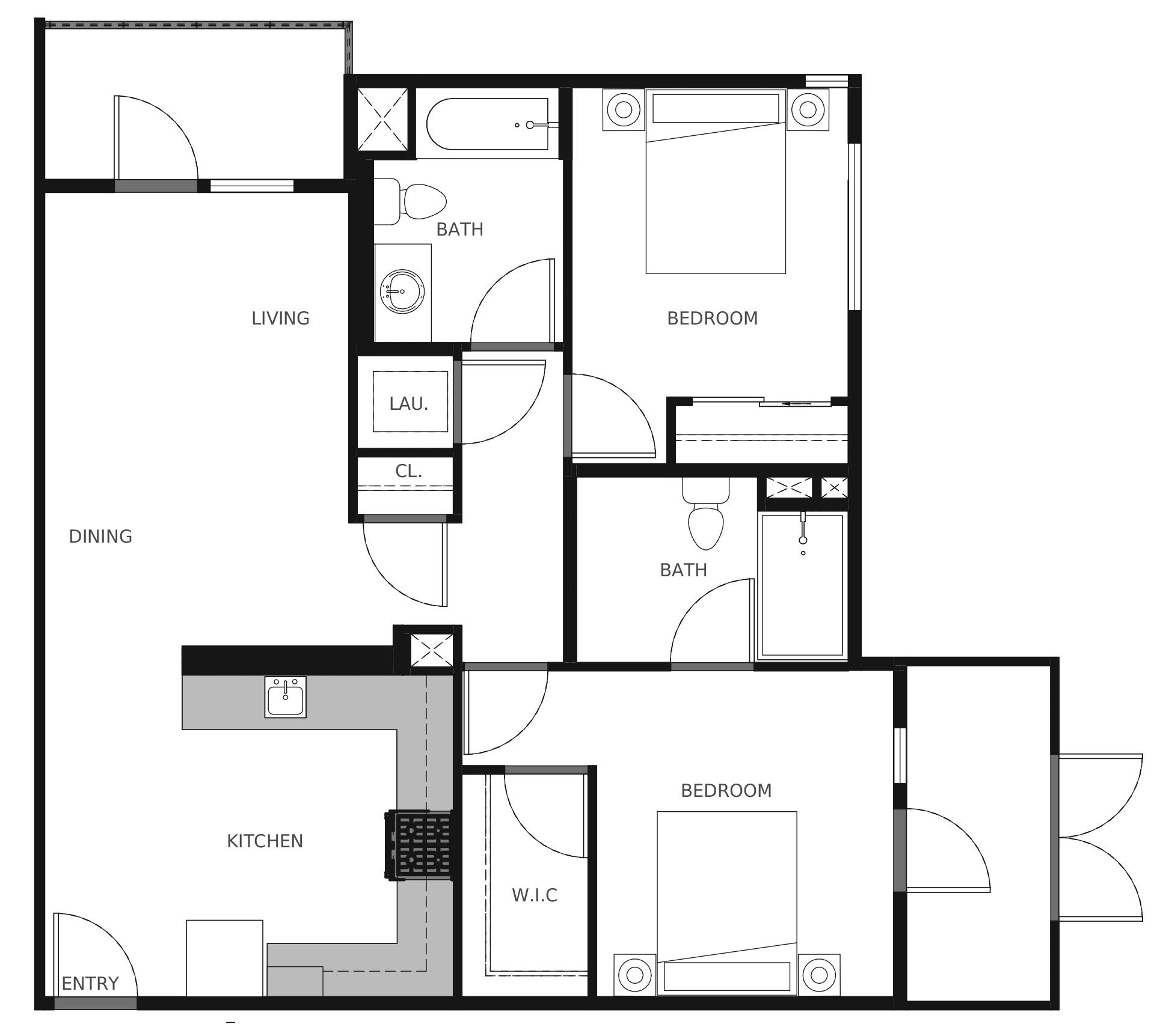 Plan B1 - 906 sq. ft.