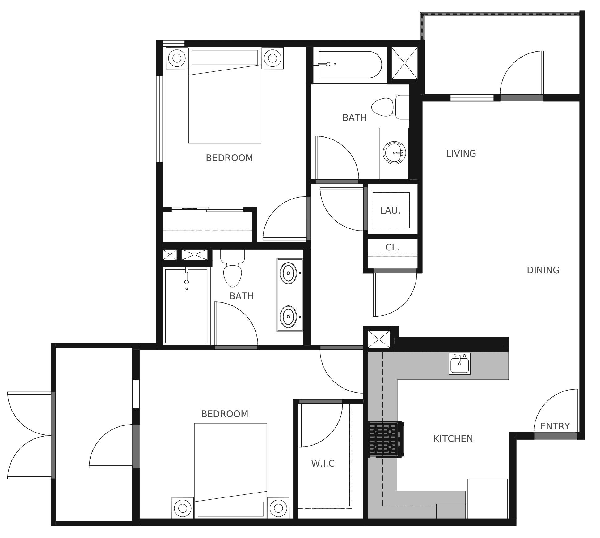 Plan B1a - 877 sq. ft.