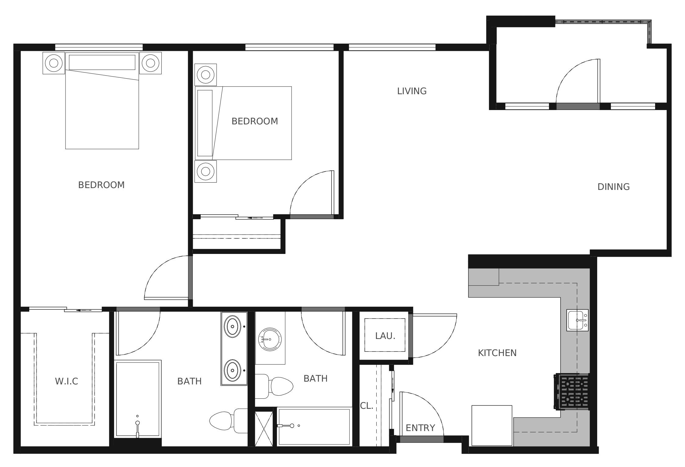 Plan B2 - 1,052 sq. ft.
