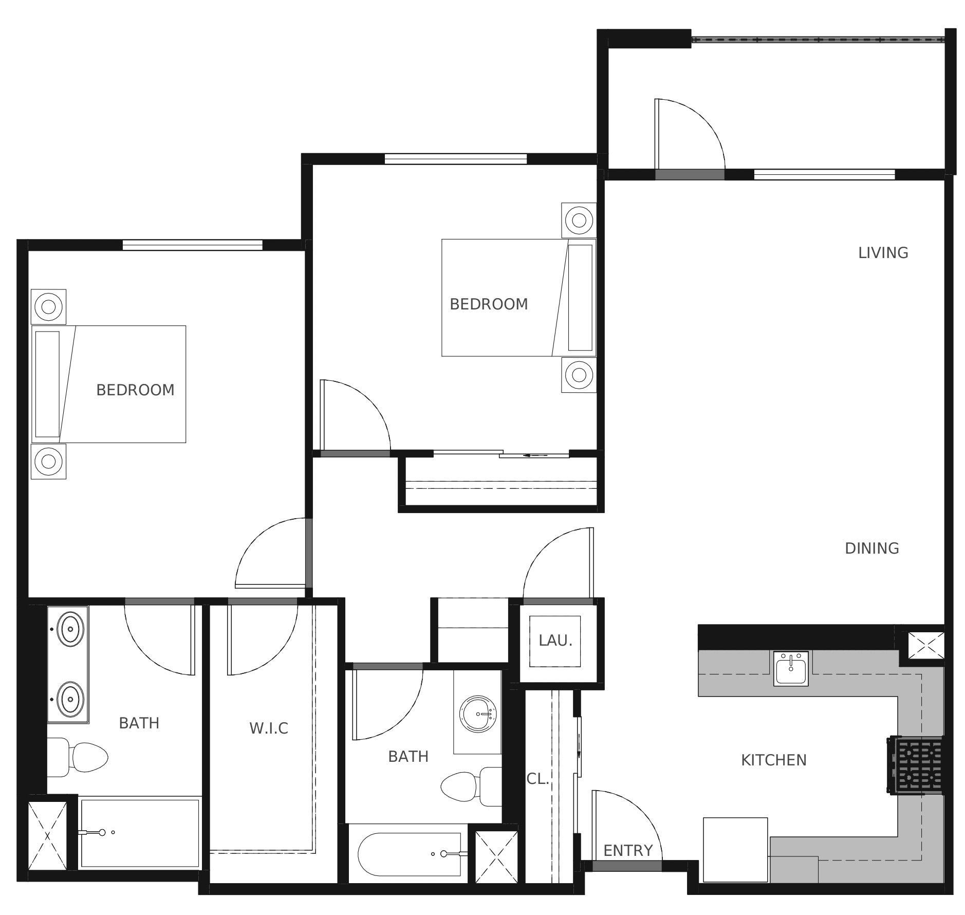 Plan B3 - 1,112 sq. ft.