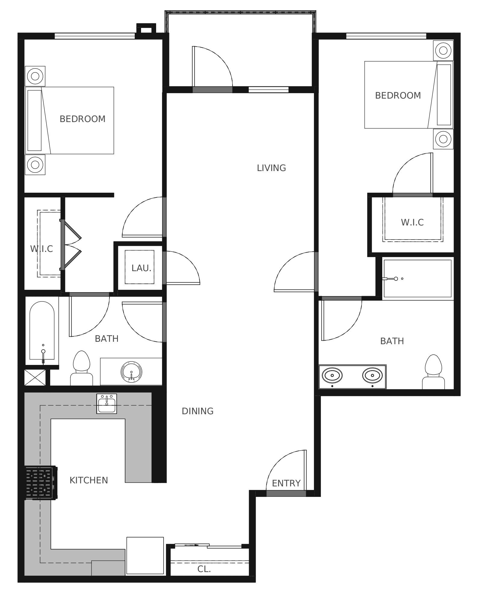 Plan B6 - 1,046 sq. ft.