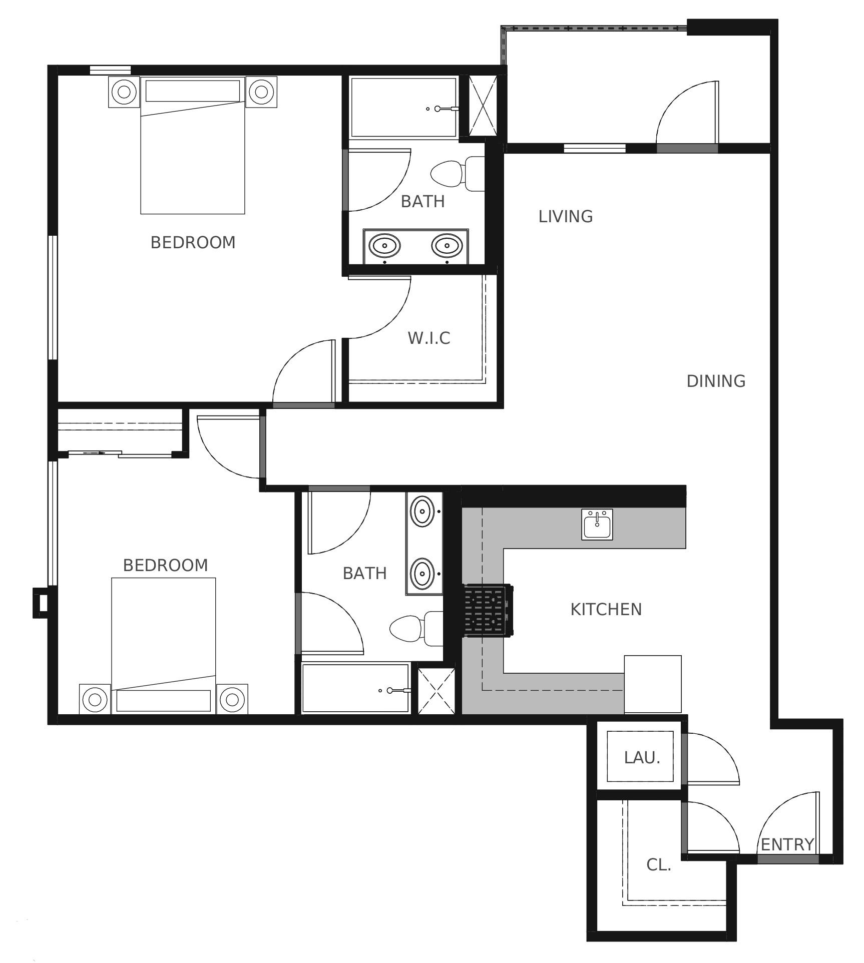 Plan B7 - 1,085 sq. ft.