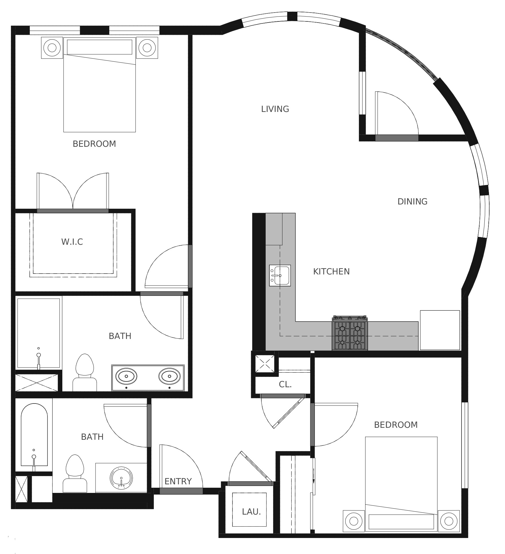 Plan B8 and Plan B8a - 987 sq. ft.