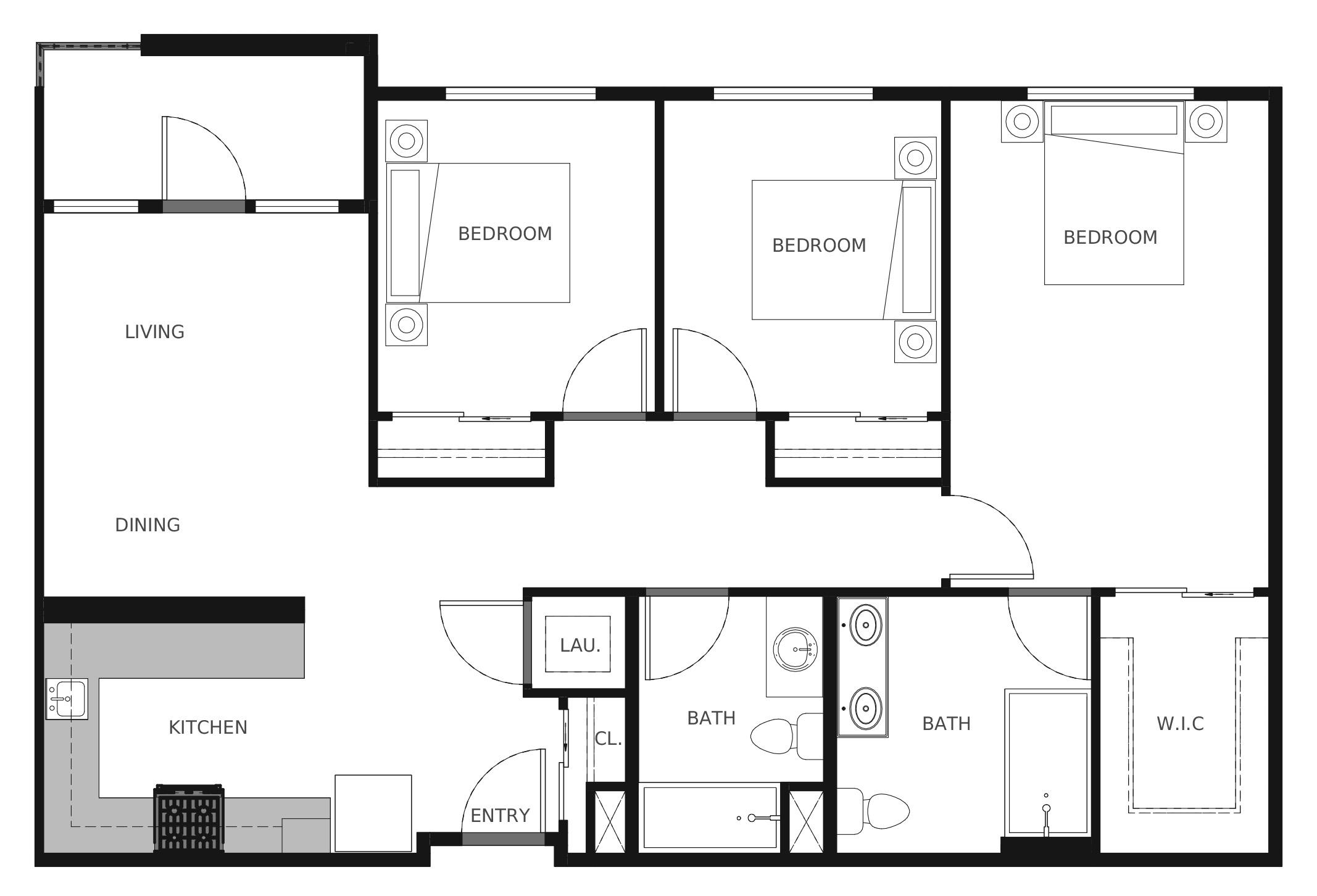 Plan C1 - 1,118 sq. ft.
