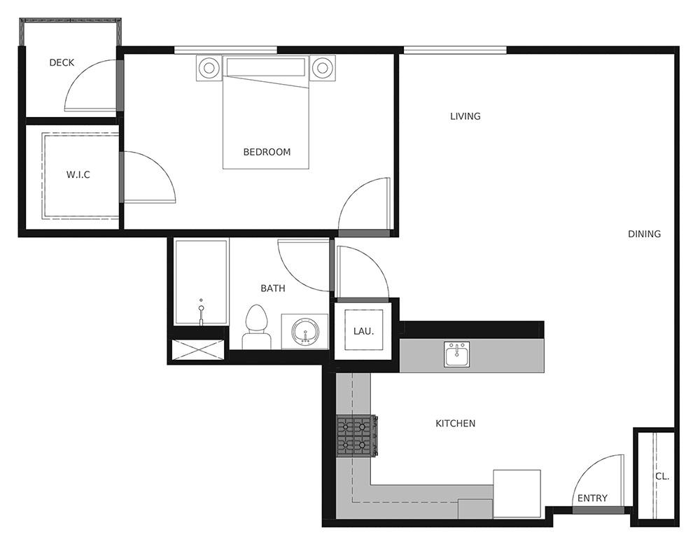 Plan A1 - 727 sq. ft.