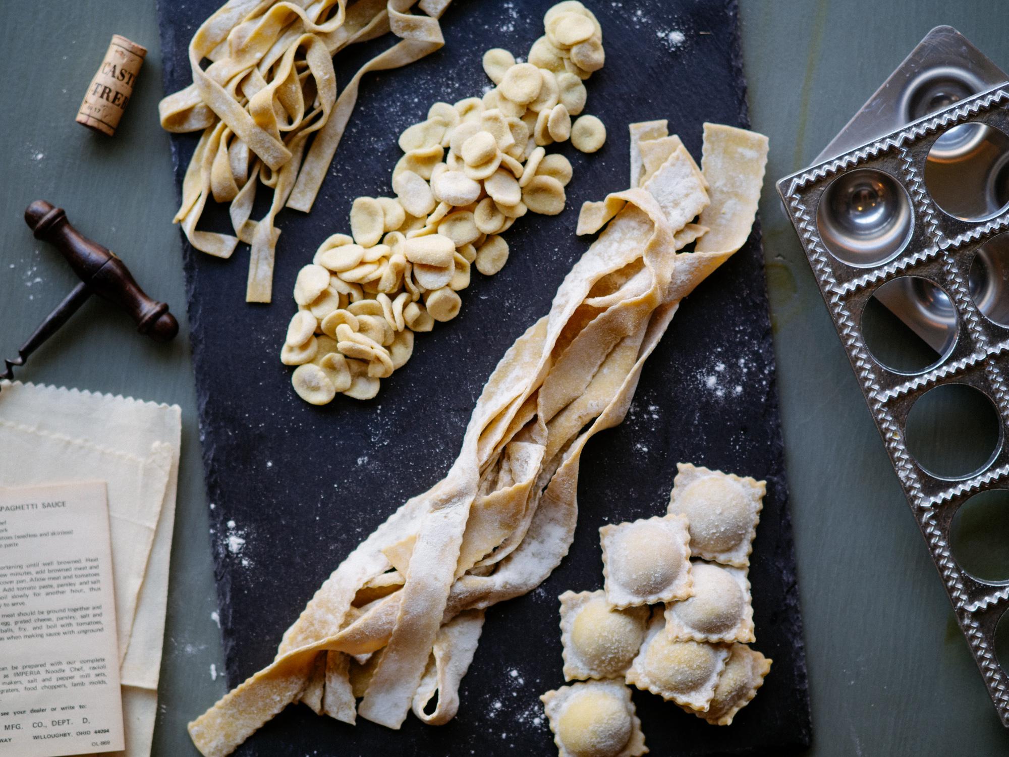in-house handmade pasta, ravioli, pappardelle, orecchiette, tagliatelle