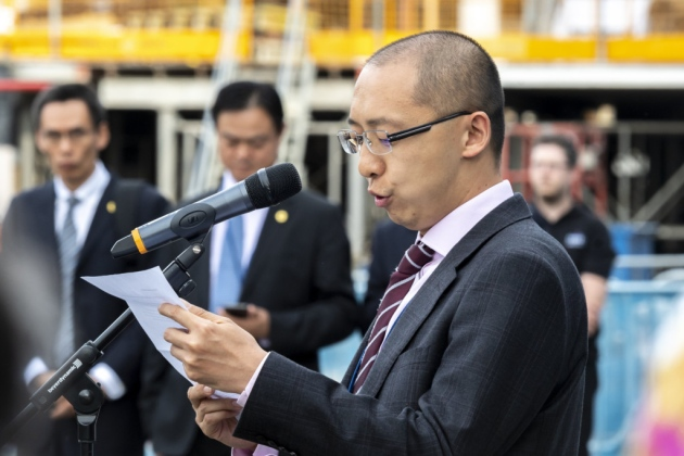 Kevin Lin, of TusPark Cambridge, addresses the audience. Picture: Keith Heppell