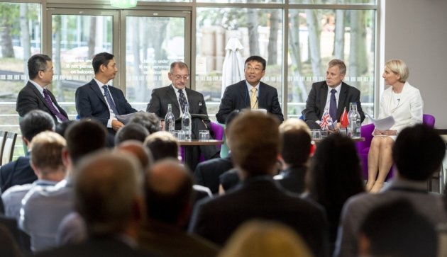 The panel discussion featuring, from left, Sunan Jiang, minister counsellor at the Chinese Embassy, Ming Yang, President of Tus-Science & Technology Service Group, High Sheriff Dr Andy Harter, Dr Du Jiansheng, specialist for life sciences for the DIT, Gavin Currie, chief executive officer of Biosceptre, and Science Park director Jeanette Walker. Picture: Keith Heppell