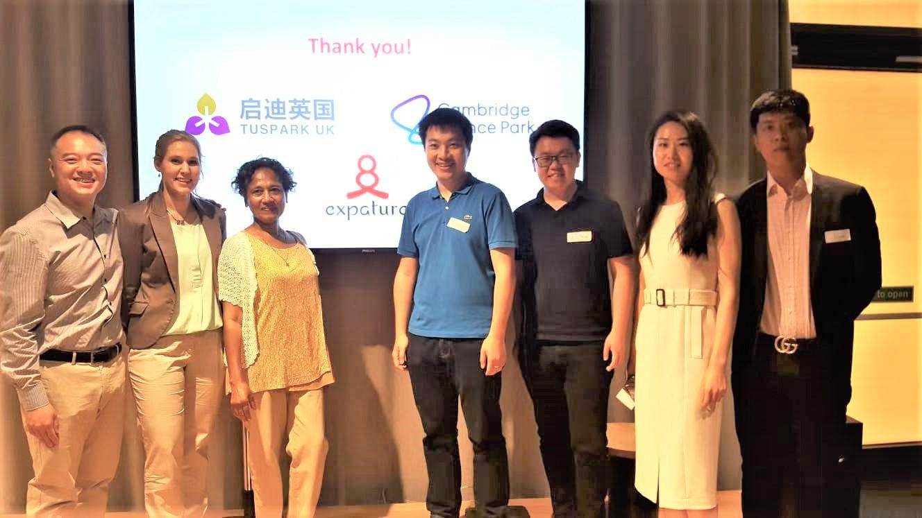 Left: Expature founders Dean, Eva and Zarine; Right: Tuspark UK Team
