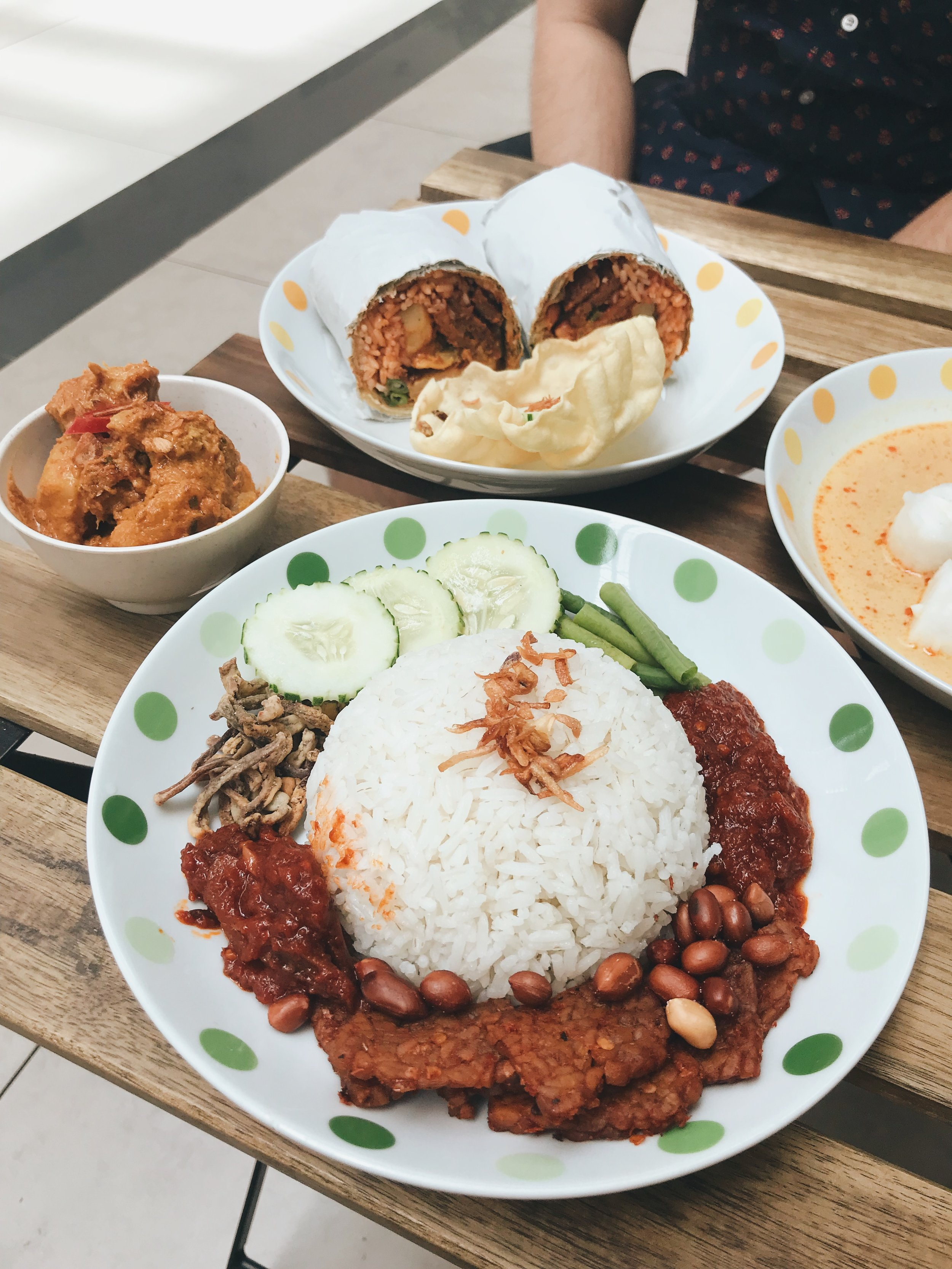 Nasi lemak with lion's mane mushroom rendang (plated or in a burrito). - RM18
