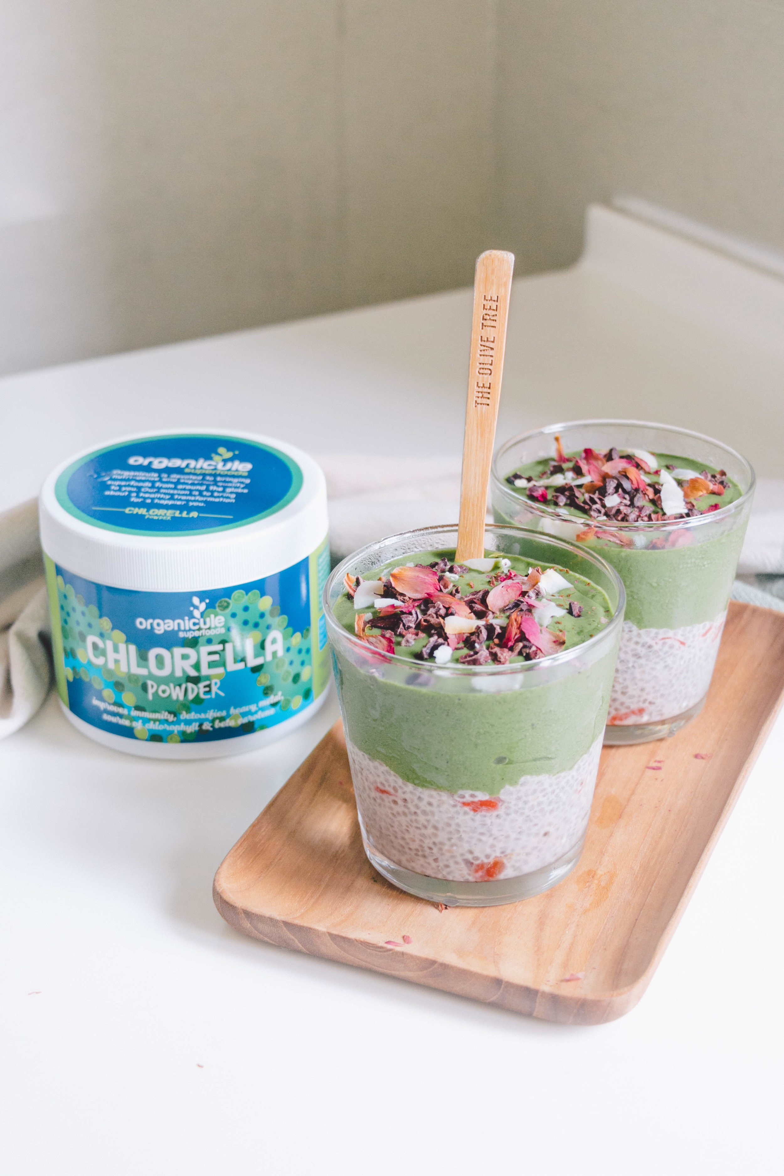 Method: - 1. Make chia pudding. Make the chia pudding first by putting all the Chia Pudding ingredients in a jar. Stir until well combined and cover the jar. Leave it in the fridge for at least 3 hours, preferably overnight.2. Make smoothie. Add all the Green Smoothie ingredients into a blender (preferably high powered) and blend until smooth. Add more plant milk if needed.3. Assemble parfait. Divide the Chia Pudding evenly between 2 small glasses or jars. Pour the Green Smoothie on top of the chia pudding. Garnish with your favourite toppings and serve!