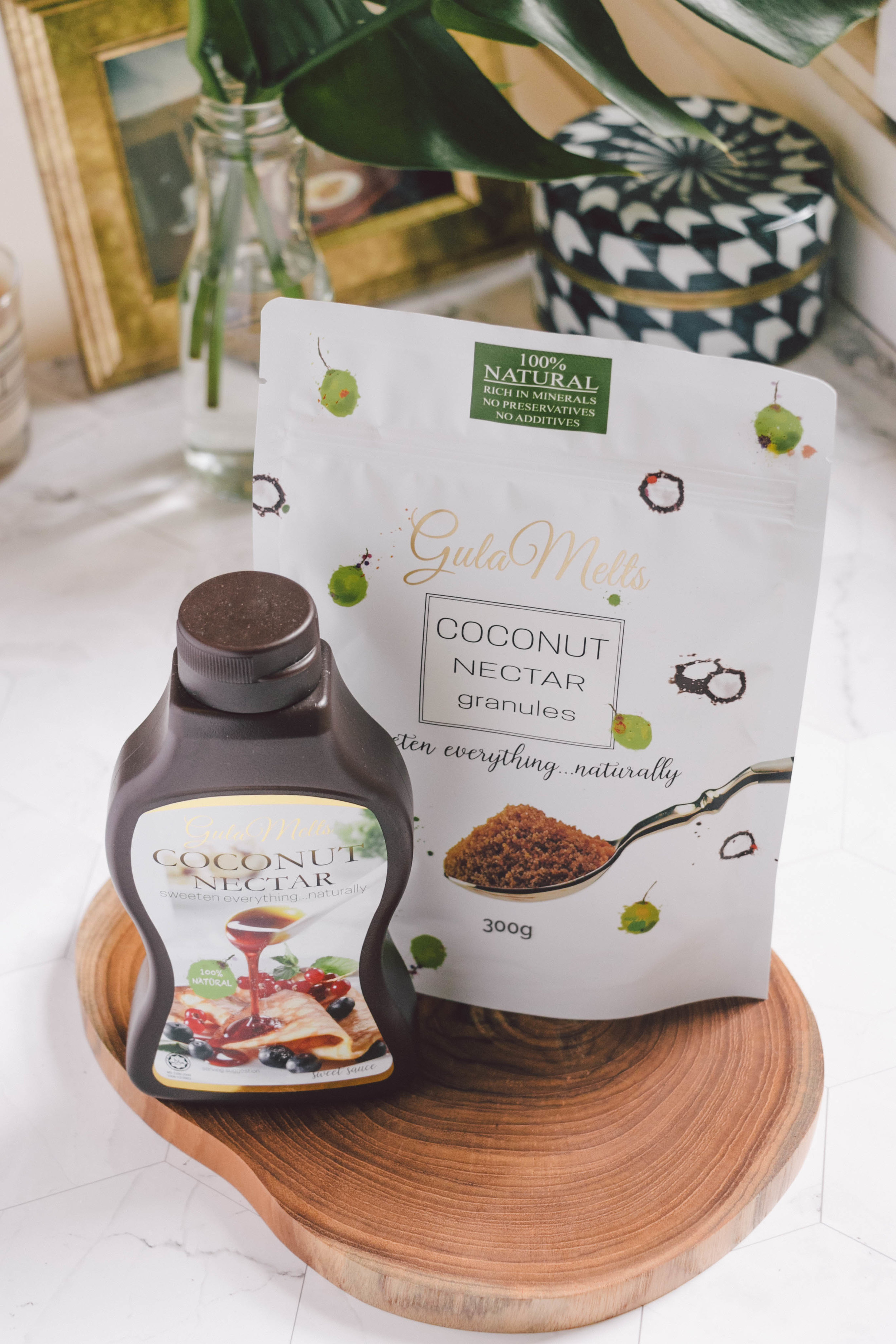 Coconut Nectar & Coconut Sugar - Gula Melts is a local brand that sells coconut nectar cultivated locally in Borneo. Their products are 100% natural and don't contain any preservatives and additives. Coconut nectar has a fairly low GI of 35 (compared to honey which is 55, and table sugar which is 65), meaning it won't spike your blood glucose and insulin levels as quickly.I love that Gula Melts has coconut nectar in both a granulated sugar and liquid form, so I can choose between the two depending on the dish I'm making. The nectar has a rich caramel flavour and which is perfect drizzled over porridge.