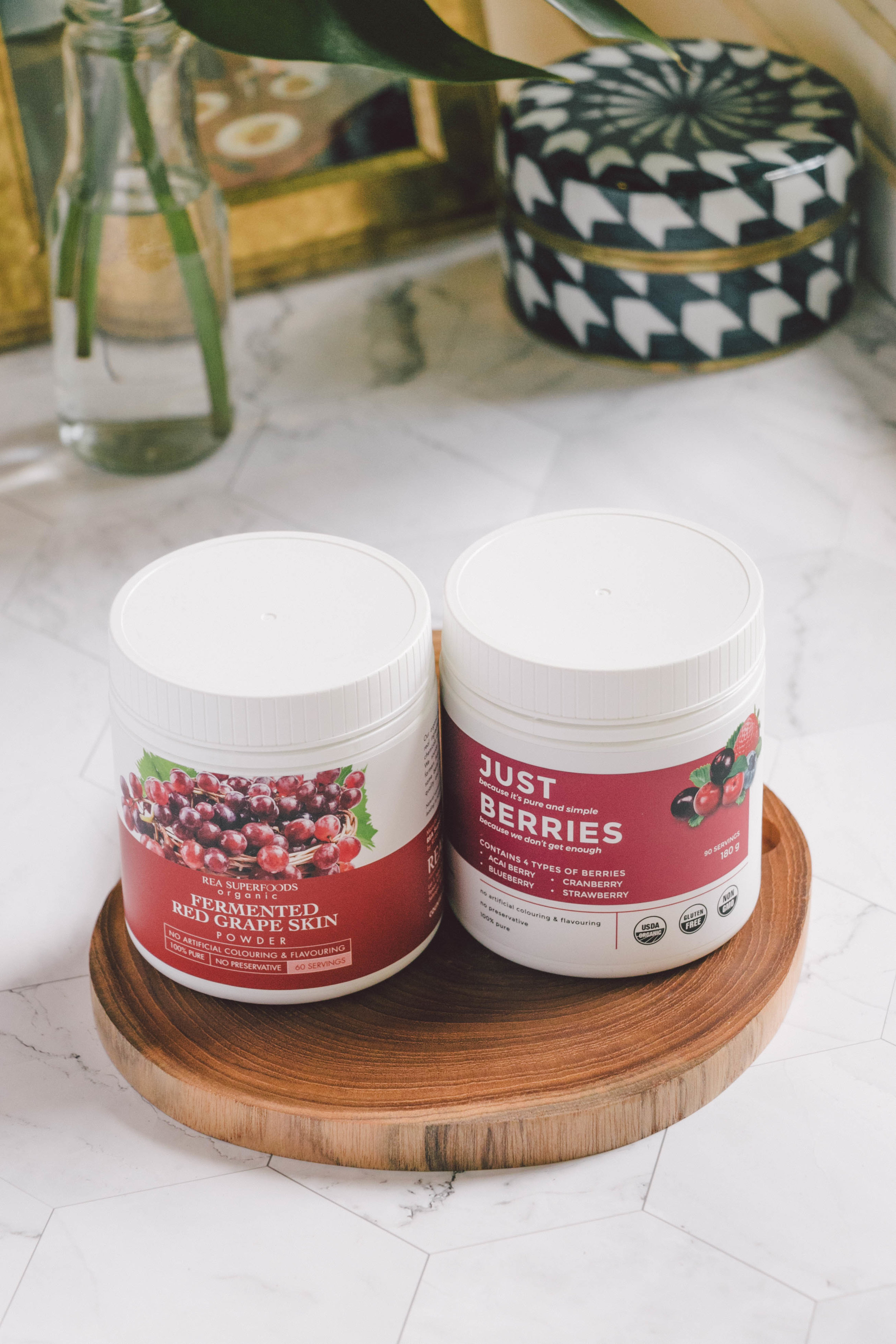 Just Berries & Fermented Grape Skin Powder - Just Berries is a blend purely made up of acai berry, blueberry, cranberry and strawberry and is loaded with antioxidants, vitamin C, electrolytes, trace minerals and amino acids. I'm in love its vibrant pink hue—I use Just Berries to naturally colour my dishes, especially my desserts. It adds a gorgeous pop of pink and a delicious berry flavour.Naturally high in resveratrol and antioxidants, the Fermented Grape Skin powder tastes and has similar heart protecting benefits to red wine, minus the alcohol. Being fermented as well means bonus points for promoting healthy gut bacteria.