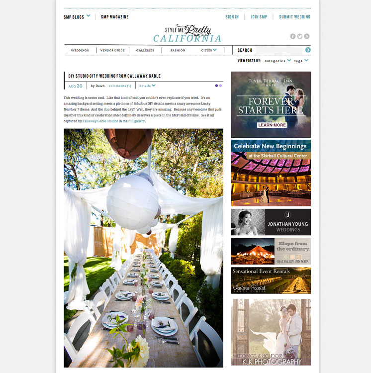 California DIY Wedding by Callaway Gable is on Style Me Pretty