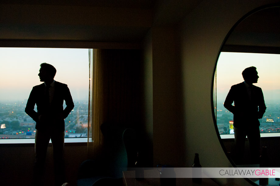 Groom Gets Ready at the JW Marriott in downtown Los Angeles