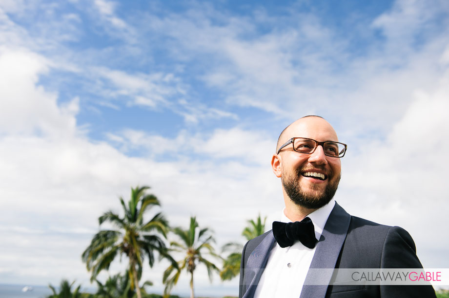 Groom portraits wedding at private estate in Lahaina wedding