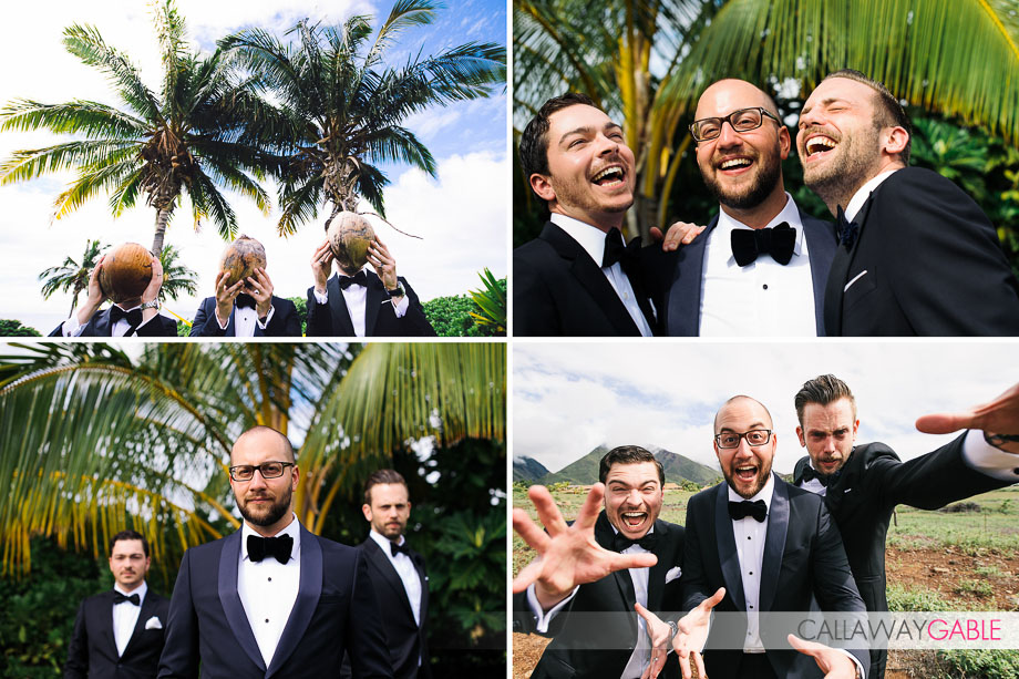Bridal party portraits wedding at private estate in Lahaina wedding