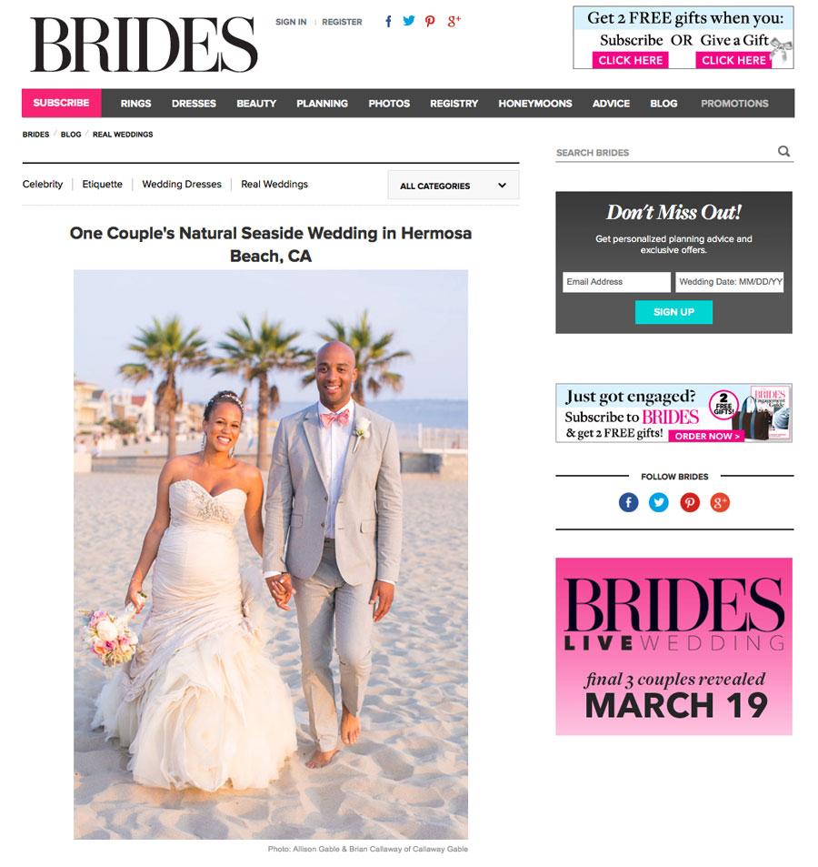 Hermosa Beach Wedding by Callaway Gable on Bride's Magazine blog