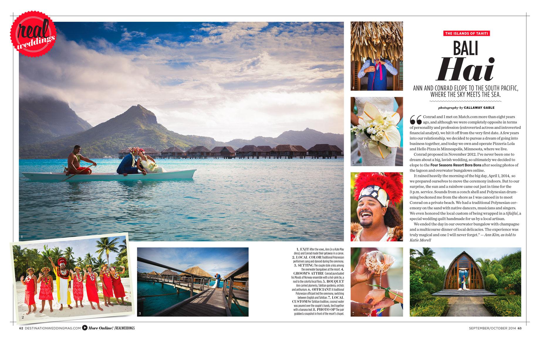 Bora Bora Wedding in Destinations Weddings and Honeymoons Magazine