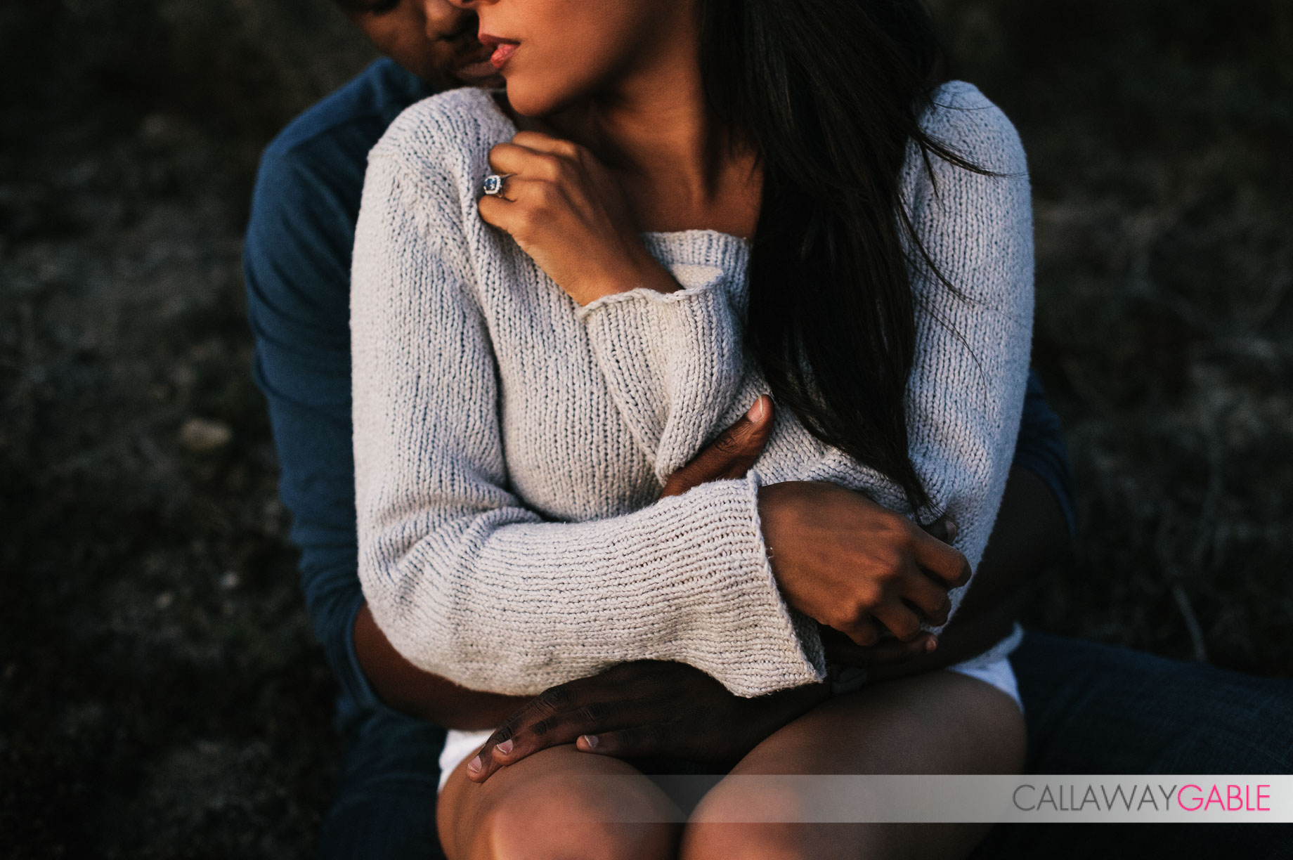 Romantic sunset engagement photo at Poitn Fermin Park in San Pedro