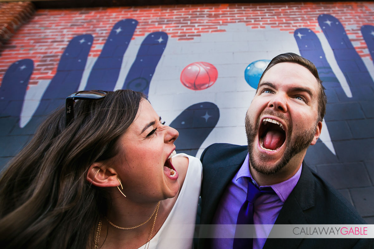 fun downtown los angeles engagement