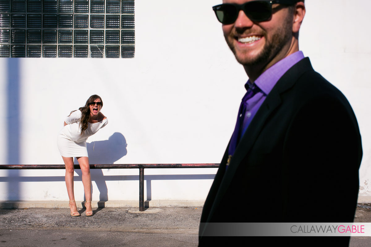 super sexy engagement photo in downtown los angeles